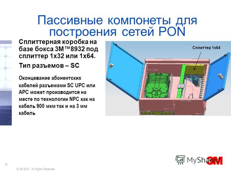 15 © 3M 2007. All Rights Reserved. Пассивные компонеты для построения сетей PON Сплиттерная коробка на базе бокса 3М8932 под сплиттер 1х32 или 1х64. Тип разъемов – SC Оконцевание абонентских кабелей разъемами SC UPC или APC может производится на мест