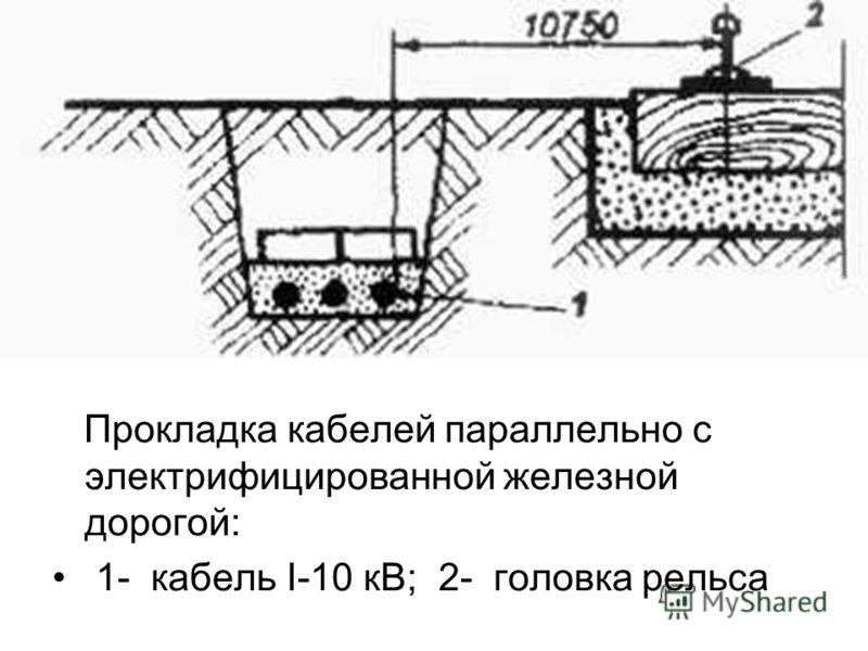 Прокладка кабелей параллельно с электрифицированной железной дорогой: 1- кабель I-10 кВ; 2- головка рельса