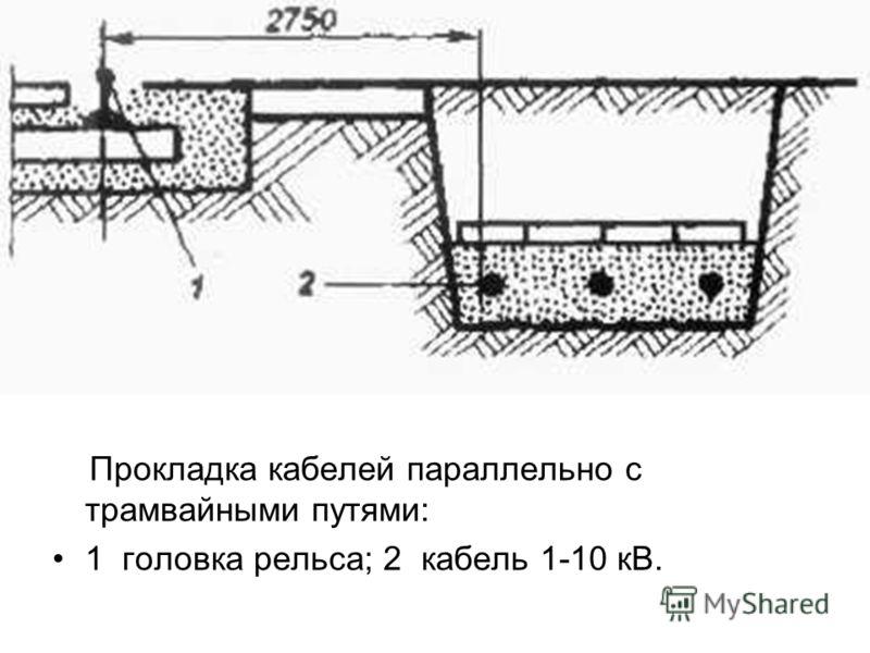 Прокладка кабелей параллельно с трамвайными путями: 1 головка рельса; 2 кабель 1-10 кВ.