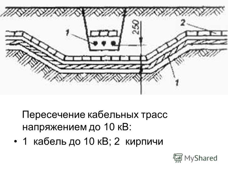 Пересечение кабельных трасс напряжением до 10 кВ: 1 кабель до 10 кВ; 2 кирпичи