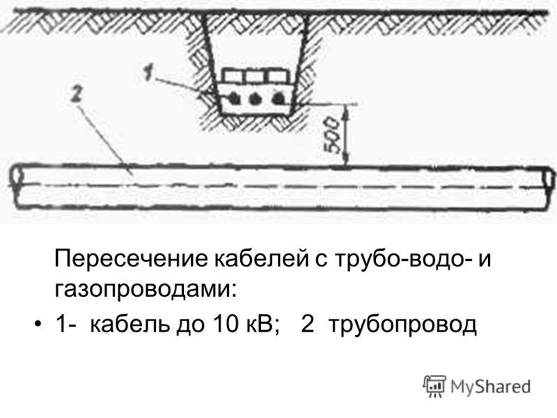 Пересечение кабелей с трубо-водо- и газопроводами: 1- кабель до 10 кВ; 2 трубопровод