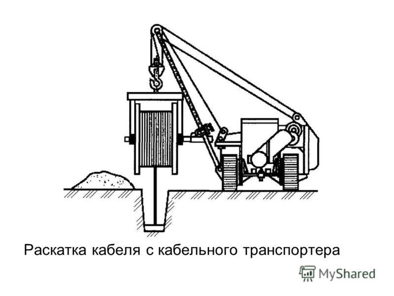 Раскатка кабеля с кабельного транспортера