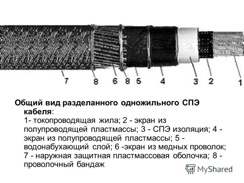 Общий вид разделанного одножильного СПЭ кабеля: 1- токопроводящая жила; 2 - экран из полупроводящей пластмассы; 3 - СПЭ изоляция; 4 - экран из полупроводящей пластмассы; 5 - водонабухающий слой; 6 -экран из медных проволок; 7 - наружная защитная плас