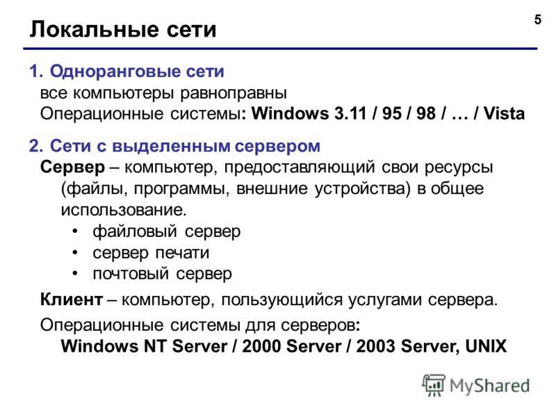 5 Локальные сети 1.Одноранговые сети все компьютеры равноправны Операционные системы: Windows 3.11 / 95 / 98 / … / Vista 2.Сети с выделенным сервером Сервер – компьютер, предоставляющий свои ресурсы (файлы, программы, внешние устройства) в общее испо