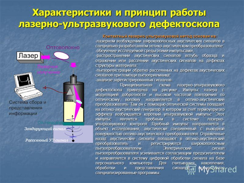 Характеристики и принцип работы лазерно-ультразвукового дефектоскопа Рассеянный УЗ сигнал Зондирующий сигнал ОА-генератор Контактный лазерно-ультразвуковой метод основан на: -лазерном возбуждении широкополосных акустических сигналов в специально разр