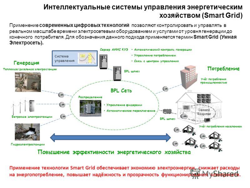 Интеллектуальные системы управления энергетическим хозяйством (Smart Grid) Применение современных цифровых технологий позволяют контролировать и управлять в реальном масштабе времени электросетевым оборудованием и услугами от уровня генерации до коне