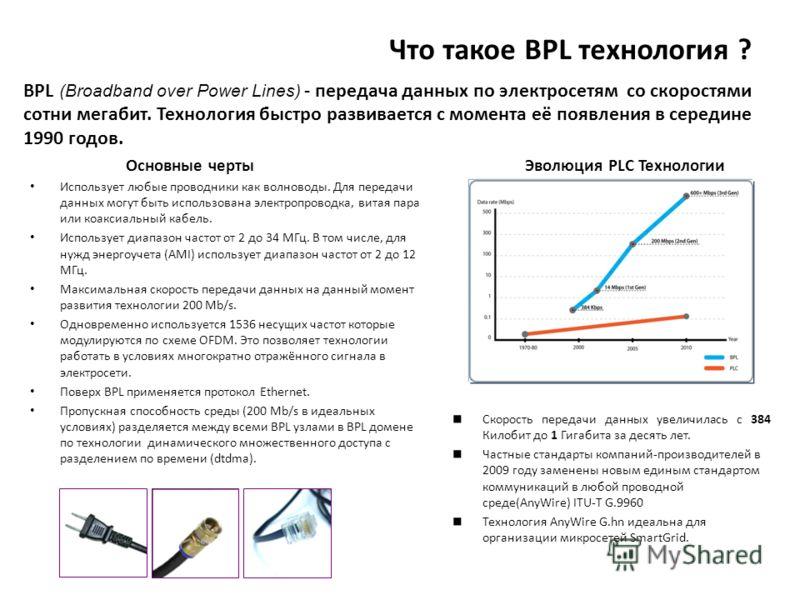 Что такое BPL технология ? BPL (Broadband over Power Lines) - передача данных по электросетям со скоростями сотни мегабит. Технология быстро развивается с момента её появления в середине 1990 годов. Скорость передачи данных увеличилась с 384 Килобит