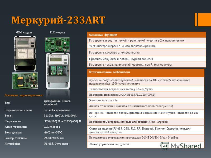 PLC модуль GSM модуль Меркурий-233ART Основные характеристики: Тип: трех-фазный, много- тарифный Подключение к сети3-х и 4-х проводное Ток :5 (10)A, 5(60)А, 10(100)А Напряжение : 3*57(100) В и 3*230(400) В Класс точности:0,2S; 0,5S и 1 Tемп диапаз:-4