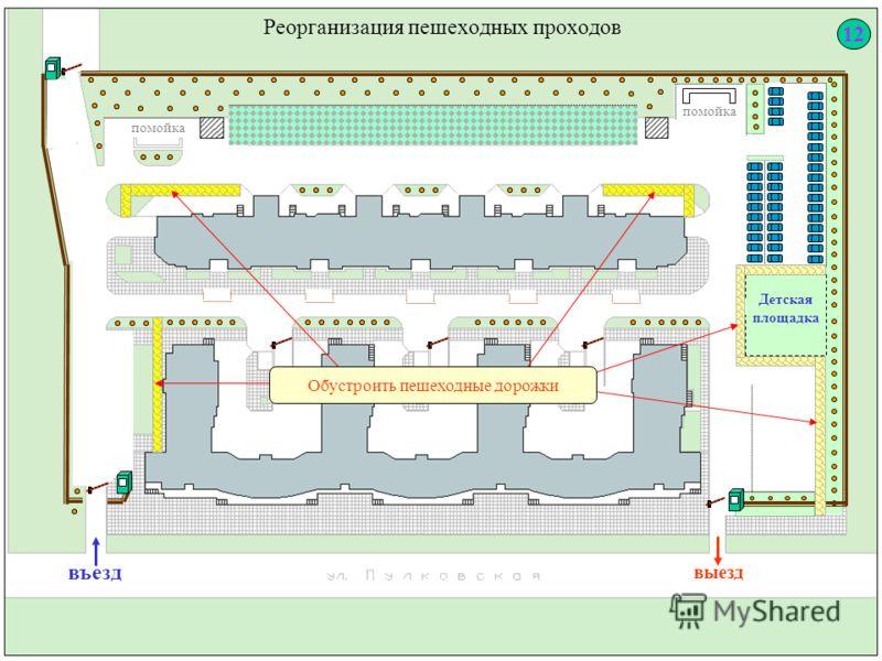 Реорганизация пешеходных проходов Детская площадка выезд въезд помойка Обустроить пешеходные дорожки 12