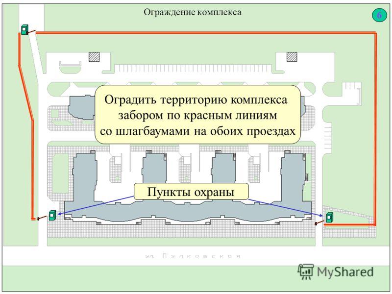 Ограждение комплекса Оградить территорию комплекса забором по красным линиям со шлагбаумами на обоих проездах Пункты охраны 6