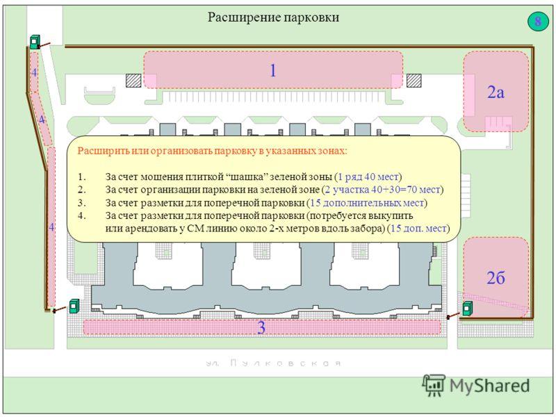 Расширение парковки 1 4 3 2б Расширить или организовать парковку в указанных зонах: 1.За счет мощения плиткой шашка зеленой зоны (1 ряд 40 мест) 2.За счет организации парковки на зеленой зоне (2 участка 40+30=70 мест) 3.За счет разметки для поперечно