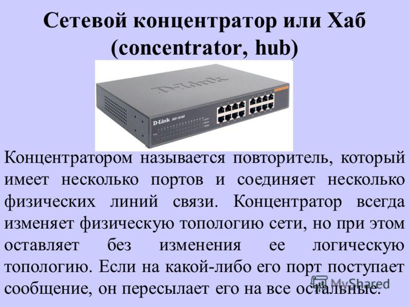 Сетевой концентратор или Хаб (concentrator, hub) Концентратором называется повторитель, который имеет несколько портов и соединяет несколько физических линий связи. Концентратор всегда изменяет физическую топологию сети, но при этом оставляет без изм