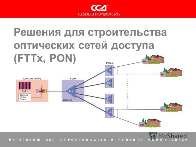 Решения для FTTx 1 М А Т Е Р И А Л Ы Д Л Я С Т Р О И Т Е Л Ь С Т В А И Р Е М О Н Т А Л И Н И Й С В Я З И Решения для строительства оптических сетей доступа (FTTx, PON)