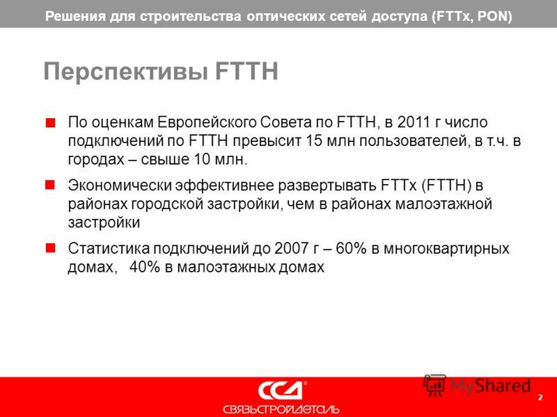 2 По оценкам Европейского Совета по FTTH, в 2011 г число подключений по FTTH превысит 15 млн пользователей, в т.ч. в городах – свыше 10 млн. Экономически эффективнее развертывать FTTx (FTTH) в районах городской застройки, чем в районах малоэтажной за