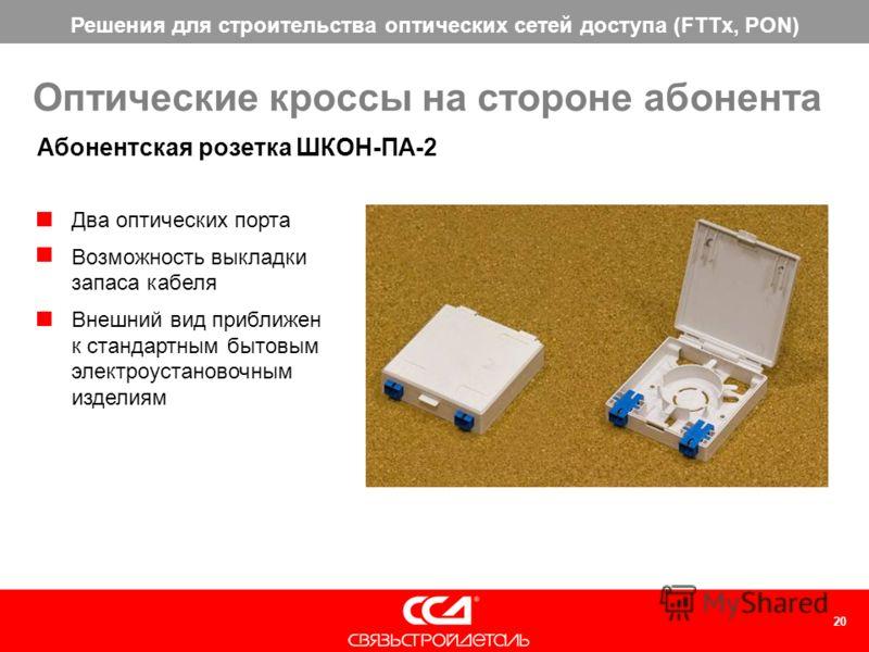 Решения для строительства оптических сетей доступа (FTTx, PON) 20 Оптические кроссы на стороне абонента Абонентская розетка ШКОН-ПА-2 Два оптических порта Возможность выкладки запаса кабеля Внешний вид приближен к стандартным бытовым электроустановоч