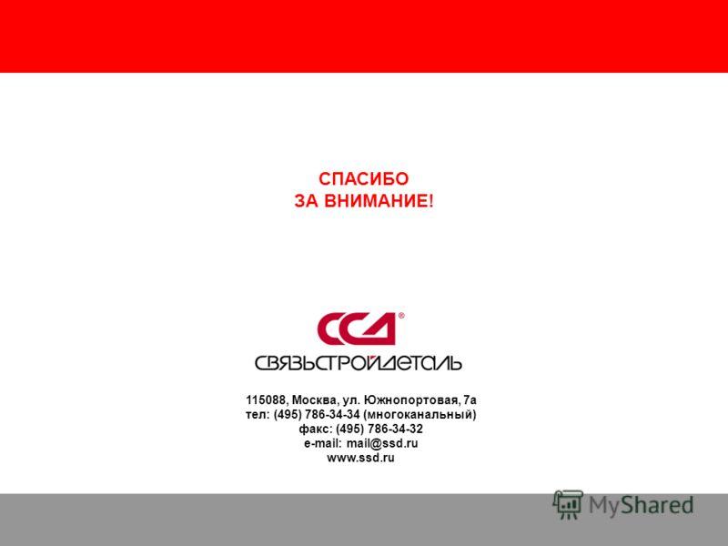Решения для строительства оптических сетей доступа (FTTx, PON) 43 115088, Москва, ул. Южнопортовая, 7а тел: (495) 786-34-34 (многоканальный) факс: (495) 786-34-32 e-mail: mail@ssd.ru www.ssd.ru СПАСИБО ЗА ВНИМАНИЕ!