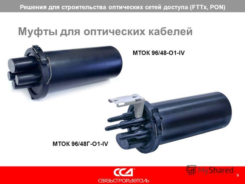 Решения для строительства оптических сетей доступа (FTTx, PON) 9 Муфты для оптических кабелей МТОК 96/48-О1-IV МТОК 96/48Г-О1-IV