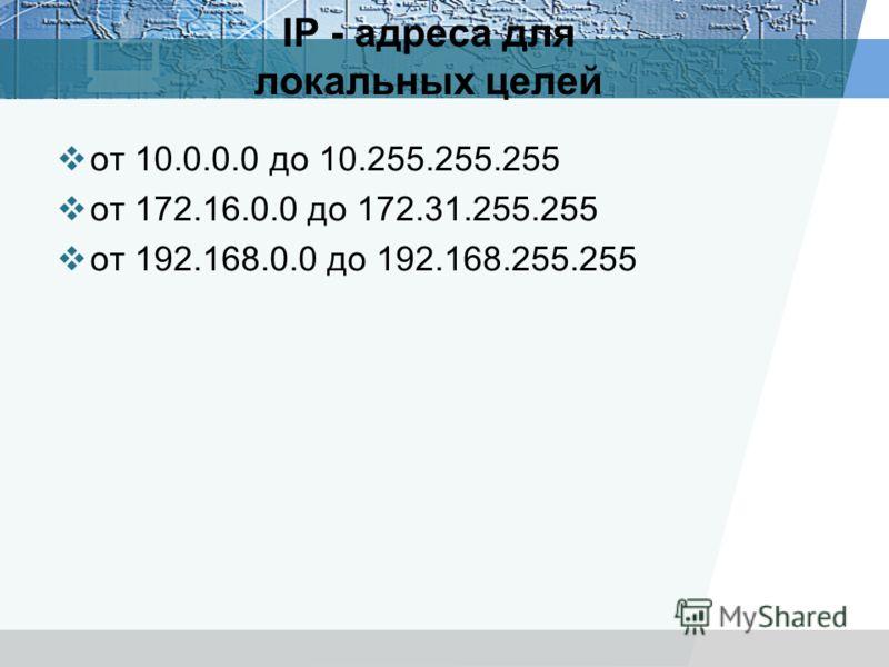 IP - адреса для локальных целей от 10.0.0.0 до 10.255.255.255 от 172.16.0.0 до 172.31.255.255 от 192.168.0.0 до 192.168.255.255