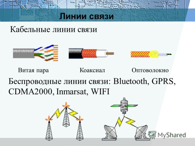 Линии связи Кабельные линии связи Беспроводные линии связи: Bluetooth, GPRS, CDMA2000, Inmarsat, WIFI Витая параКоаксиалОптоволокно
