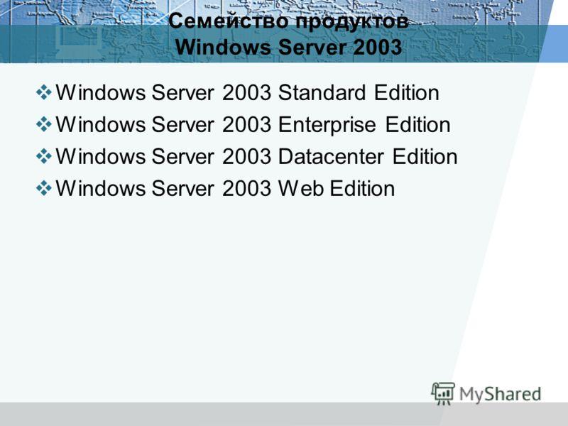 Семейство продуктов Windows Server 2003 Windows Server 2003 Standard Edition Windows Server 2003 Enterprise Edition Windows Server 2003 Datacenter Edition Windows Server 2003 Web Edition