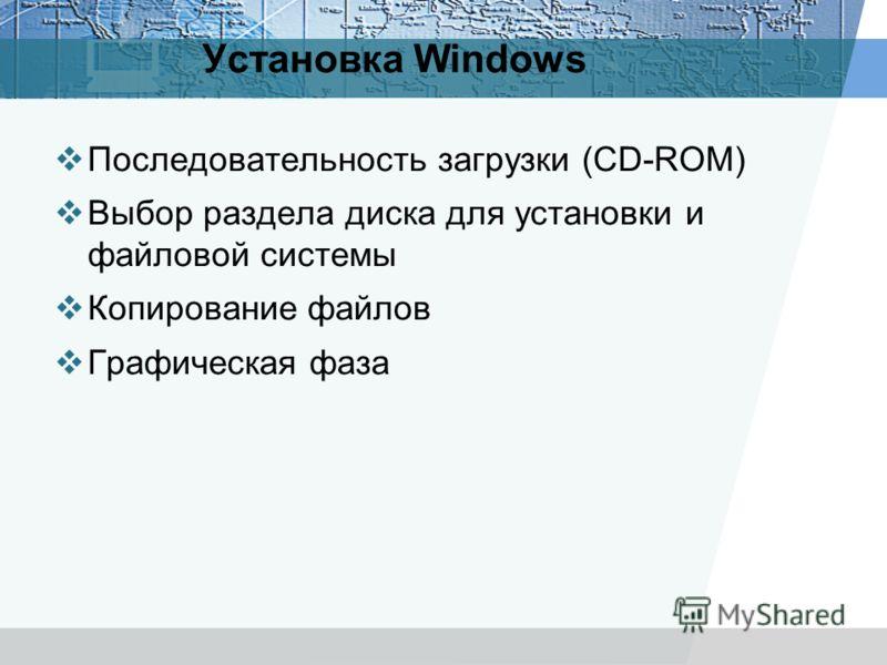 Установка Windows Последовательность загрузки (CD-ROM) Выбор раздела диска для установки и файловой системы Копирование файлов Графическая фаза