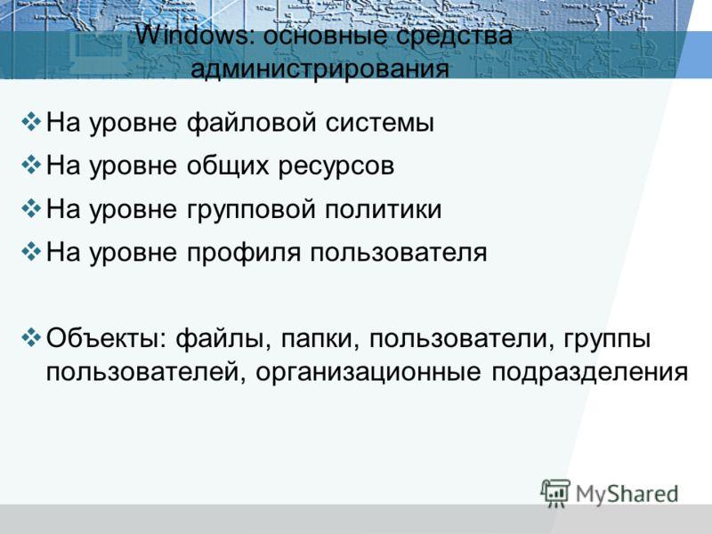 Windows: основные средства администрирования На уровне файловой системы На уровне общих ресурсов На уровне групповой политики На уровне профиля пользователя Объекты: файлы, папки, пользователи, группы пользователей, организационные подразделения