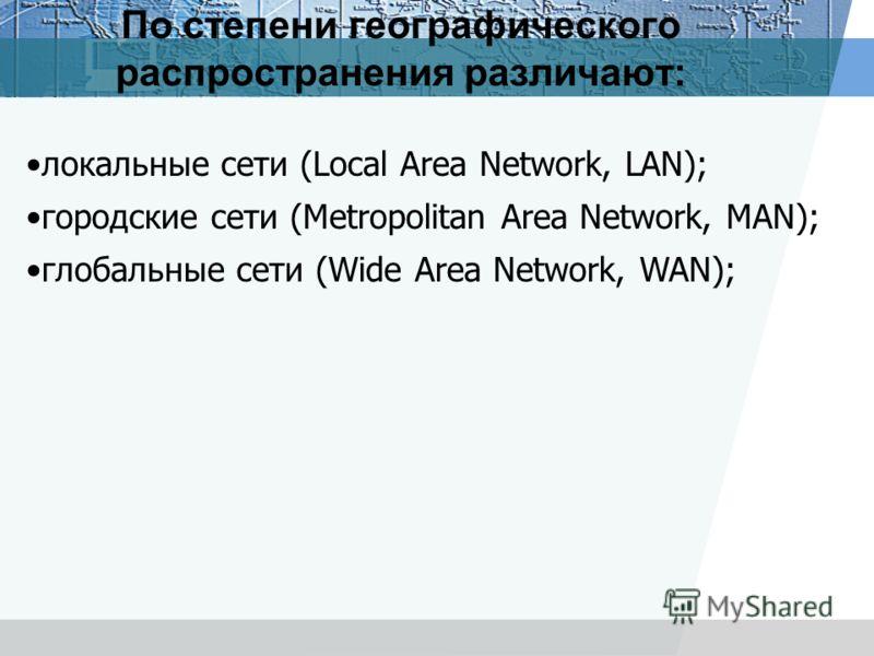 По степени географического распространения различают: локальные сети (Local Area Network, LAN); городские сети (Metropolitan Area Network, MAN); глобальные сети (Wide Area Network, WAN);