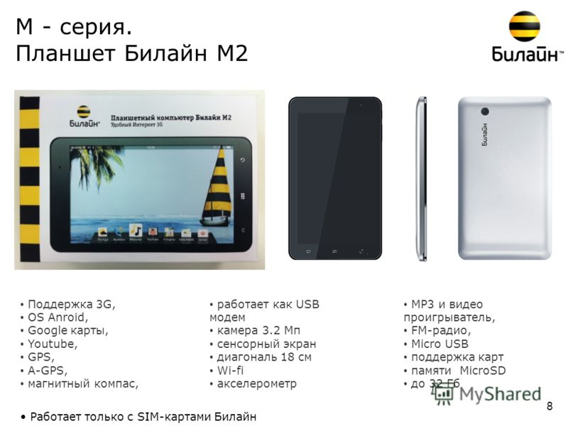 М - серия. Планшет Билайн М2 Поддержка 3G, OS Anroid, Google карты, Youtube, GPS, A-GPS, магнитный компас, работает как USB модем камера 3.2 Мп сенсорный экран диагональ 18 см Wi-fi акселерометр МР3 и видео проигрыватель, FM-радио, Micro USB поддержк