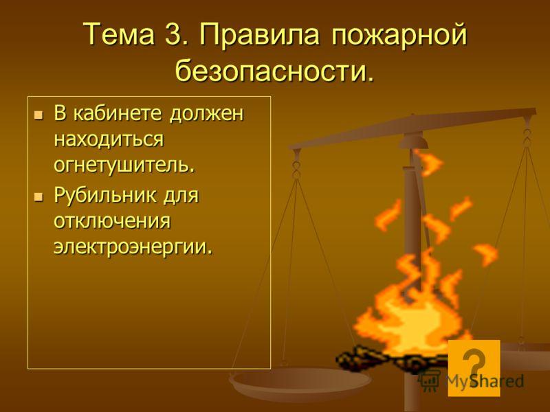 Тема 3. Правила пожарной безопасности. В кабинете должен находиться огнетушитель. В кабинете должен находиться огнетушитель. Рубильник для отключения электроэнергии. Рубильник для отключения электроэнергии.