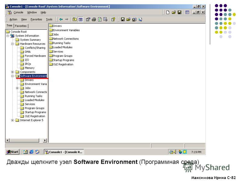 Максимова Ирина С-82 Дважды щелкните узел Software Environment (Программная среда)