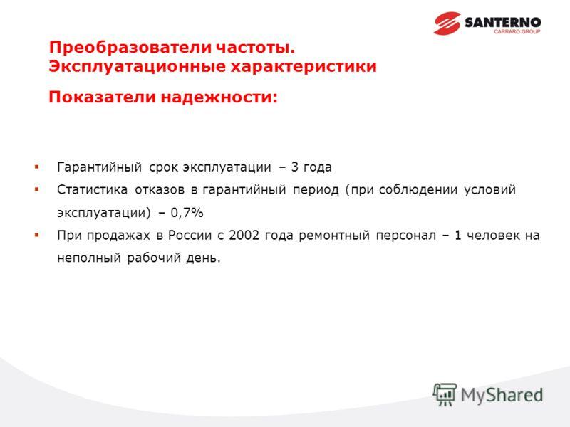 SINUS PENTA Преобразователи частоты. Эксплуатационные характеристики Гарантийный срок эксплуатации – 3 года Статистика отказов в гарантийный период (при соблюдении условий эксплуатации) – 0,7% При продажах в России с 2002 года ремонтный персонал – 1