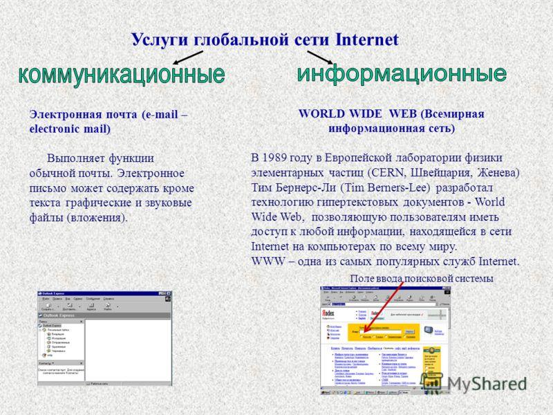 Электронная почта (e-mail – electronic mail) Выполняет функции обычной почты. Электронное письмо может содержать кроме текста графические и звуковые файлы (вложения). Услуги глобальной сети Internet WORLD WIDE WEB (Всемирная информационная сеть) В 19
