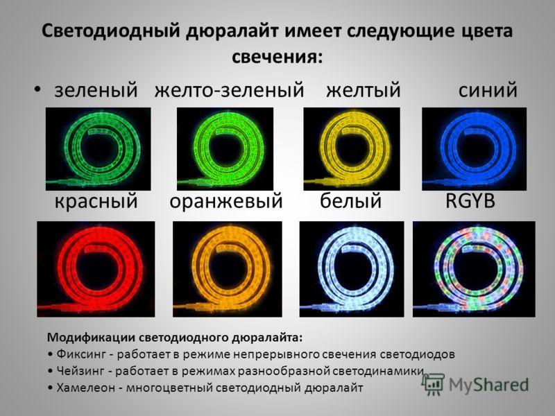Светодиодный дюралайт имеет следующие цвета свечения: зеленый желто-зеленый желтый синий красный оранжевый белый RGYB Модификации светодиодного дюралайта: Фиксинг - работает в режиме непрерывного свечения светодиодов Чейзинг - работает в режимах разн