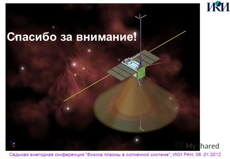 Седьмая ежегодная конференция Физика плазмы в солнечной системе, ИКИ РАН, 06.01.2012 Спасибо за внимание!