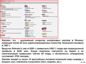 21 / 25 Rakuten, Inc. : крупнейший оператор онлайновых моллов в Японии, имеющий более 50 млн зарегистрированных клиентов. Компания основана в 1997 г. Выручка Rakuten's уже в 2005 г. превысила US$1,1 млрд при операционной прибыли в $320 млн. Акции ком