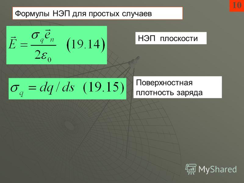 10 Формулы НЭП для простых случаев НЭП плоскости Поверхностная плотность заряда