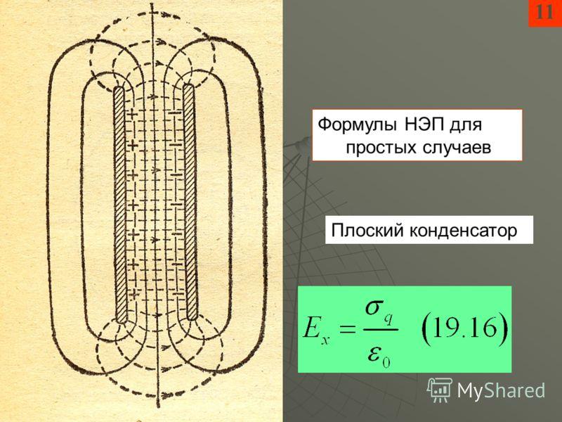 11 Формулы НЭП для простых случаев Плоский конденсатор
