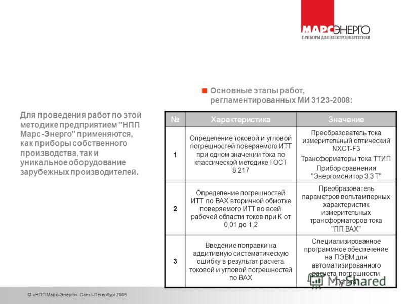 © «НПП Марс-Энерго» Санкт-Петербург 2009 Основные этапы работ, регламентированных МИ 3123-2008: ХарактеристикаЗначение 1 Определение токовой и угловой погрешностей поверяемого ИТТ при одном значении тока по классической методике ГОСТ 8.217 Преобразов