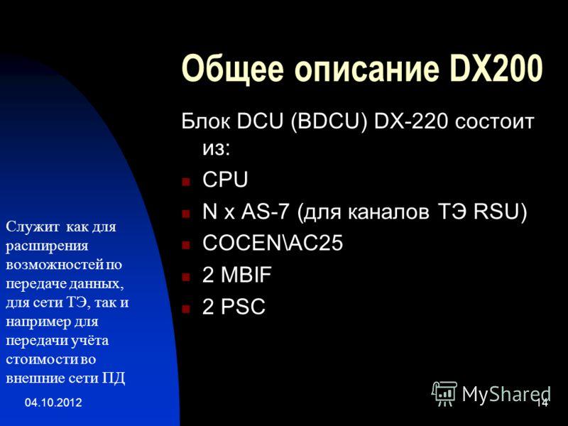 01.08.201214 Общее описание DX200 Блок DCU (BDCU) DX-220 состоит из: CPU N x AS-7 (для каналов ТЭ RSU) COCEN\AC25 2 MBIF 2 PSC Служит как для расширения возможностей по передаче данных, для сети ТЭ, так и например для передачи учёта стоимости во внеш