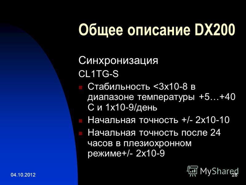 01.08.201228 Общее описание DX200 Синхронизация CL1TG-S Стабильность