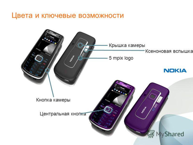 Цвета и ключевые возможности Кнопка камеры Центральная кнопка Крышка камеры 5 mpix logo Ксеноновая вспышка