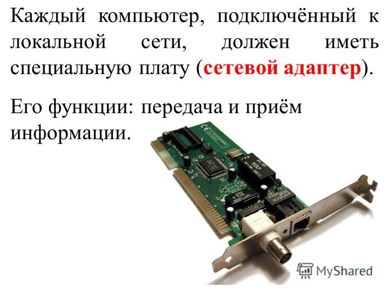 Каждый компьютер, подключённый к локальной сети, должен иметь специальную плату (сетевой адаптер). Его функции: передача и приём информации.