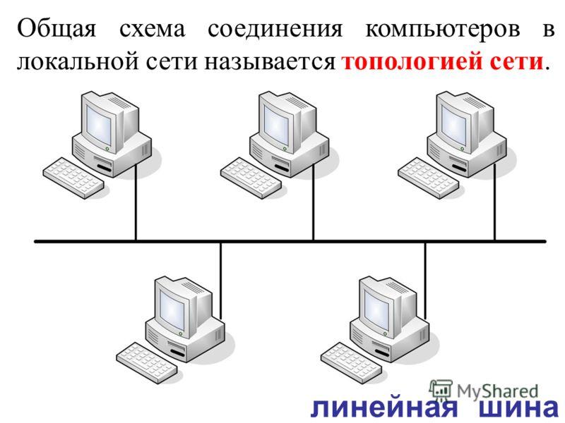 Общая схема соединения компьютеров в локальной сети называется топологией сети. линейная шина