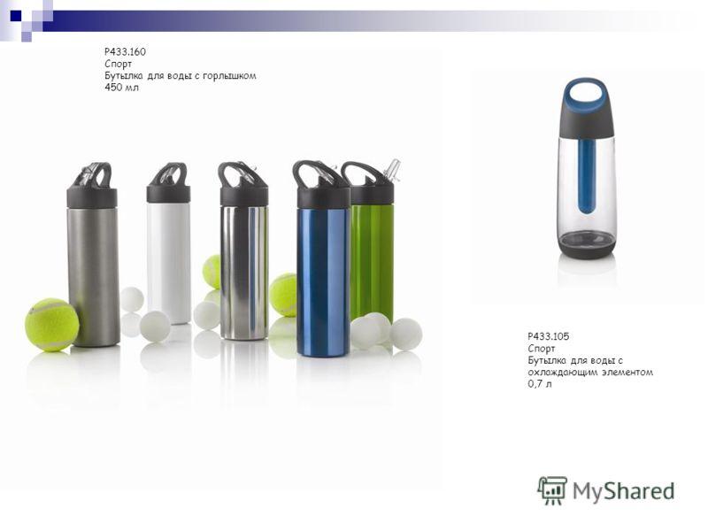 P433.160 Спорт Бутылка для воды с горлышком 450 мл P433.105 Спорт Бутылка для воды с охлаждающим элементом 0,7 л