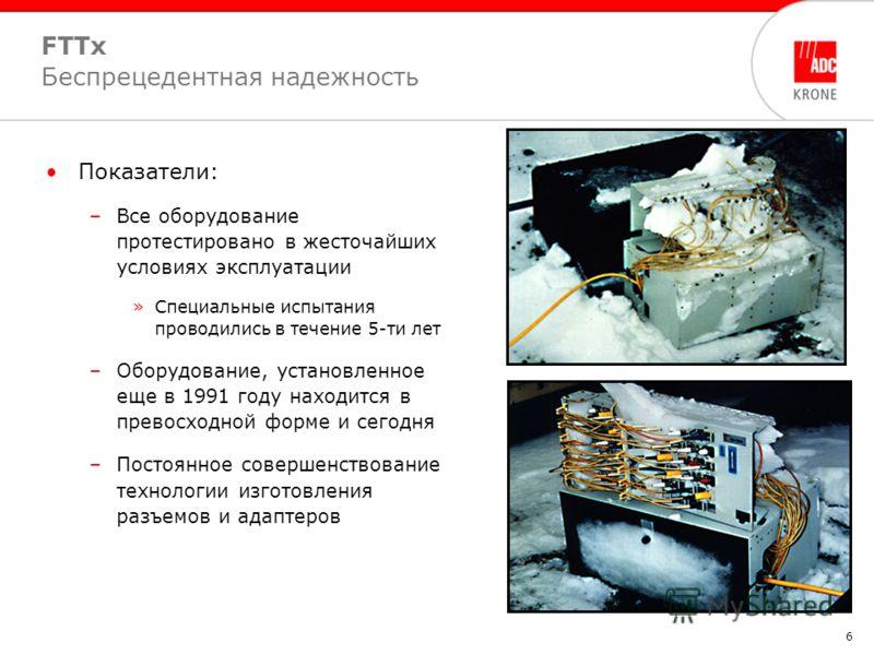6 FTTx Беспрецедентная надежность Показатели: –Все оборудование протестировано в жесточайших условиях эксплуатации »Специальные испытания проводились в течение 5-ти лет –Оборудование, установленное еще в 1991 году находится в превосходной форме и сег