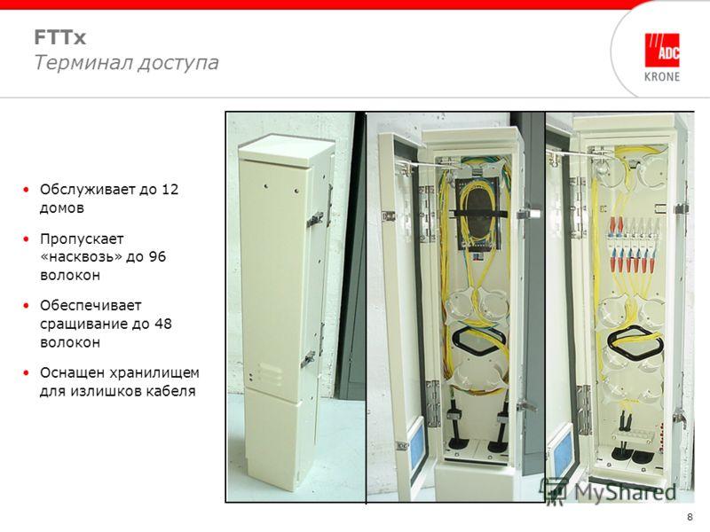 8 FTTx Терминал доступа Обслуживает до 12 домов Пропускает «насквозь» до 96 волокон Обеспечивает сращивание до 48 волокон Оснащен хранилищем для излишков кабеля