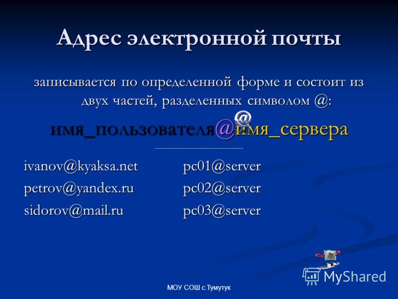 МОУ СОШ с.Тумутук Адрес электронной почты записывается по определенной форме и состоит из двух частей, разделенных символом @: имя_пользователя@имя_сервера ------------------------------------ ivanov@kyaksa.netpc01@server petrov@yandex.ru pc02@server