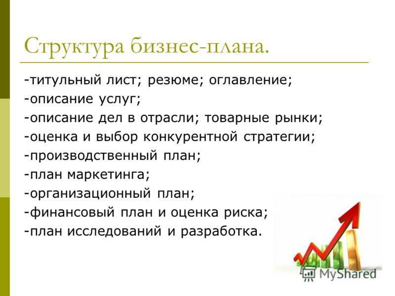 Структура бизнес-плана. -титульный лист; резюме; оглавление; -описание услуг; -описание дел в отрасли; товарные рынки; -оценка и выбор конкурентной стратегии; -производственный план; -план маркетинга; -организационный план; -финансовый план и оценка