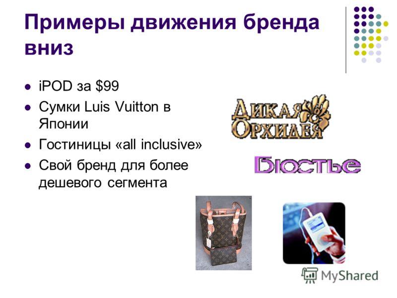 Примеры движения бренда вниз iPOD за $99 Сумки Luis Vuitton в Японии Гостиницы «all inclusive» Свой бренд для более дешевого сегмента