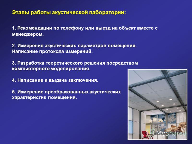 Этапы работы акустической лаборатории: 1. Рекомендации по телефону или выезд на объект вместе с менеджером. 2. Измерение акустических параметров помещения. Написание протокола измерений. 3. Разработка теоретического решения посредством компьютерногом